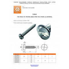 THREAD ROLLING SCREW SECURITY PAN HEAD ONE WAY 2.9X9.5 STAINLESS STEEL A2 VS8363,VS3409
