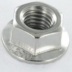 NUT HEXAGON STAINLESS STEEL A2 FLANGE WITH SERRATION M4 WAX DIN 6923, VS0100