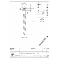 PATTES FOR WOOD SCREWS 7X70