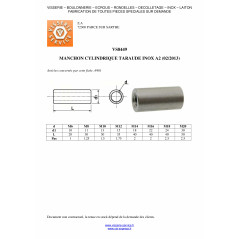 COUPLING NUTS CYLINDRICAL TARAUDES 28X50 M20 STAINLESS STEEL A2 VS8449