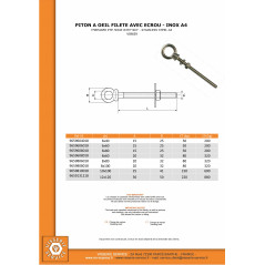 THREADED EYE HOOK WITH NUT STAINLESS STEEL A4 8X60
