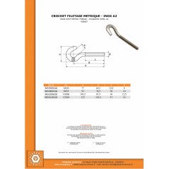 HOOK WITH METRIC THREAD STANLESS STEEL STAINLESS STEEL A2 10X60