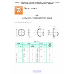 RETAINING RINGS SELF LOCKING DIAMETER 8 TYPE 876 VS3579